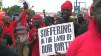 Protestors in Accra, Ghana
