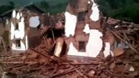 Debris after an earthquake hit Ludian county
