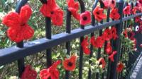 Knitted poppies on Road of Remembrance