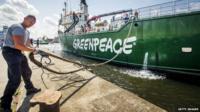 "Greenpeace's ice breaker ""Arctic Sunrise"" docks in the harbour of Beverwijk, The Netherlands"