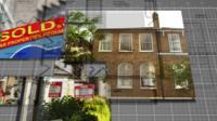 Estate agent details over a floor plan