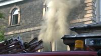 Smoke coming from flats in Pontypool