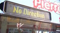 Bus sign saying No Direction
