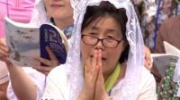 South Korean worshippers at mass