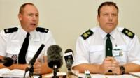 Superintendent Trevor Roe from Essex Police and Daniel Gore (right) of the east of England Ambulance service, during a press conference close to Tilbury Docks in Essex