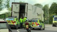 Lorry and police