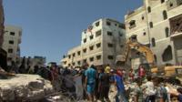 Rubble believed to be remains of house belonging to relatives of Mohammed Deif