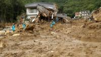 Rescue team at Hiroshima prefecture landslide