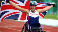 Hannah Cockroft of Great Britain celebrates after winning the womens 800m T34 final