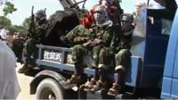 Al-Shabab fighters on the back of a truck
