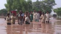 Flood victims in Jhang City floodwaters, Punjab state