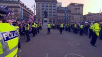 Police separate crowds in George Square