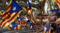 Catalonia separatist supporters wave flags outside parliament