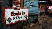 A sign warning about Ebola in Monrovia