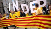 Pro-independence demonstration in front of the Catalan government building