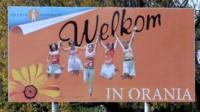 A Welcome to Orania signpost