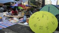 Pro-democracy protesters in Mong Kok, 9 October