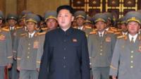North Korean leader Kim Jong-Un (C), accompanied by senior army officials