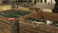 Wine bottles in crates