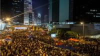 "Thousands of pro-democracy protesters in Hong Kong fill what has now been called "" Umbrella Square"" at Admiralty"