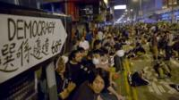 Protesters gather at the occupied area in the Mong Kok district of Hong Kong, 20 October 2014