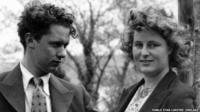 Dylan Thomas and his wife Caitlin shortly after their marriage on 7 July 1937 in Penzance