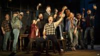 Jimmy Nail (standing, centre) plays shipyard foreman Jackie White in the Broadway musical