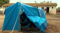 tent in schoolyard