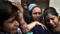Women mourning in Lahore