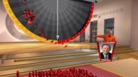 Peter Snow in the swingometer's virtual studio