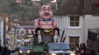 Alex Salmond effigy paraded through Lewes, East Sussex