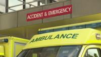 An ambulance outside accident & emergency