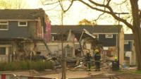 The house destroyed after the gas explosion