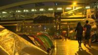 Protestor tents in Hong Kong