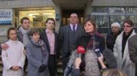 Solicitor Julie Lewis address the media