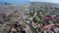 Two views of Banda Aceh from 2004 and 2014