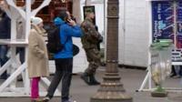 A soldier on patrol in Paris