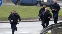 French gendarmerie at the scene of a hostage taking at an industrial zone in Dammartin-en-Goele