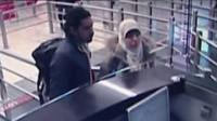 Hayat Boumeddiene with an unidentified man at passport control