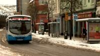 Buses began operating in Derry again at about 10:00 GMT, after a period of suspension due to the bad weather