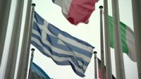 Greek flag with other EU flags