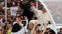 Pope waving to crowds