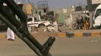 A Houthi rebel road block in Sanaa
