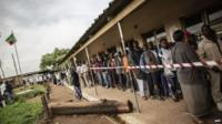 A long queue of voters in the Lusaka suburb of Kanyama