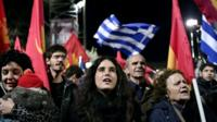 Communist party supporters gather during a party election rally in central Athens