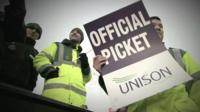 NHS staff on strike