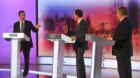 David Cameron, Nick Clegg and Gordon Brown participate in the final of three live televised debates in 2010