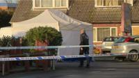 Forensic tent at crime scene