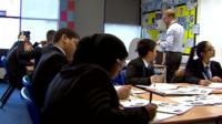 Pupils and teacher at Petchey Academy