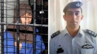 Sajida al-Rishawi and Moaz al-Kasasbeh (split picture)